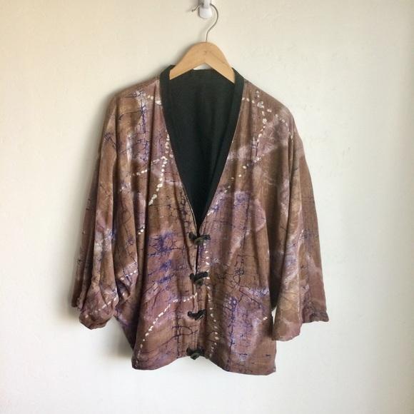 Jackets & Blazers - Tie Dye Jacket Brown Blue Metal Buttons Large